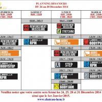 Planning et Horaires Noel / Nouvel An 2014